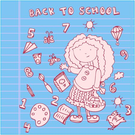 School girl background. Cartoon icons set Vector