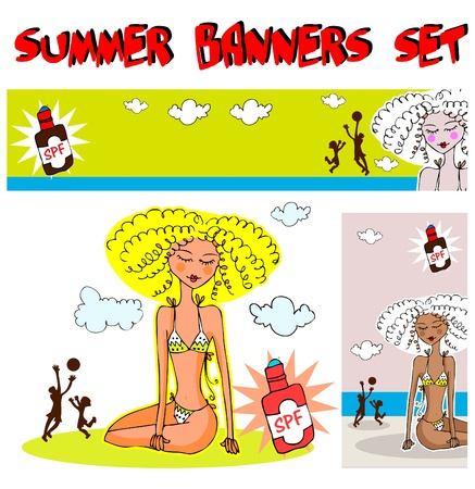 Family on the beach summer banners Vector