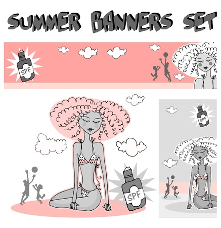 Family on the beach summer banners - woman and kid and father silhouette Stock Vector - 9885249