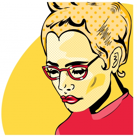 women glasses: Pop Art Woman comic book style with dot
