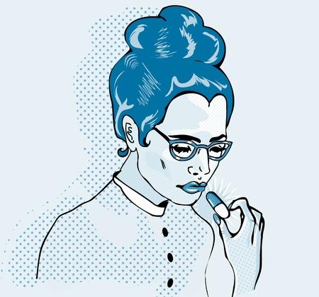 Pop Art Young woman taking a pill. Closeup. Vector