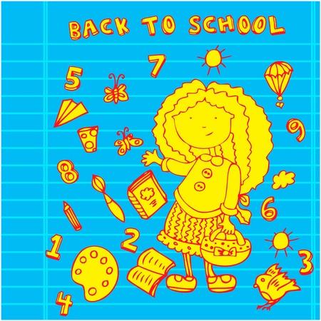 School girl background. Cartoon icons set Stock Vector - 9935150
