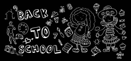 Back to school doodle Hand-Drawn BTS Sketchy Doodles Vector