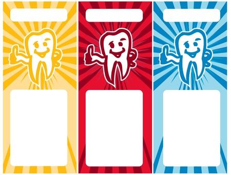 dientes con caries: Estilizada diente sonriente conjunto de tarjetas de visita de diente