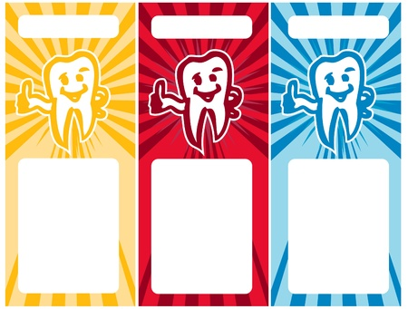 decayed: Stylized Tooth Smiling tooth business cards set