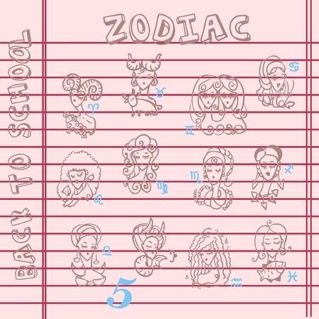 school zodiac signs, doodley set symbols Vector