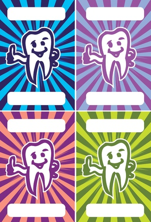Stylized Tooth Smiling tooth business cards set Vector