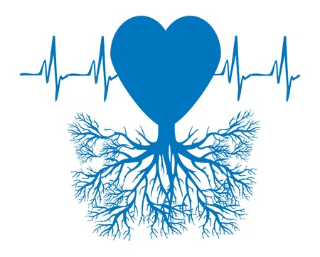 ekg: heart tree emblem - medical illustration heart health nature concept