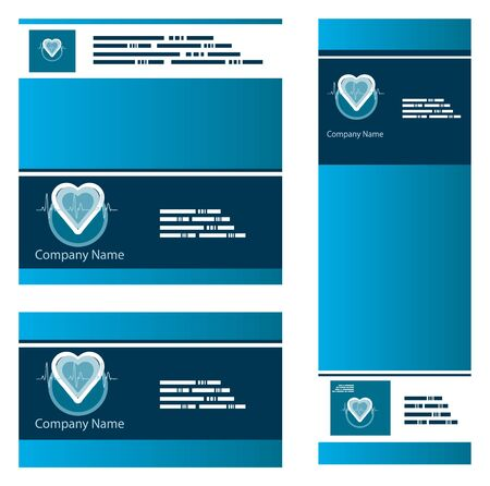 Blue medical cardio business backgrounds set Vector