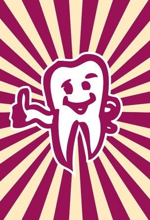 unharmed: happy dent poster card Intact, healthy molar tooth  Illustration