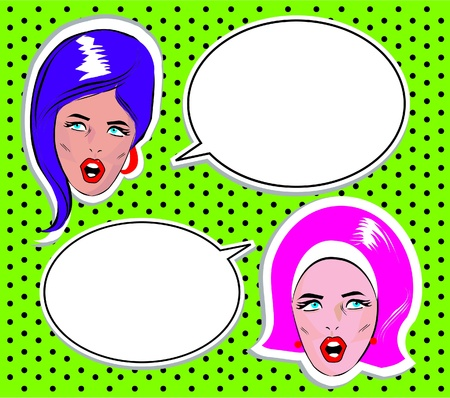 Angry Woman talking Avatar or userpic icon in pop art comic style comics Vector