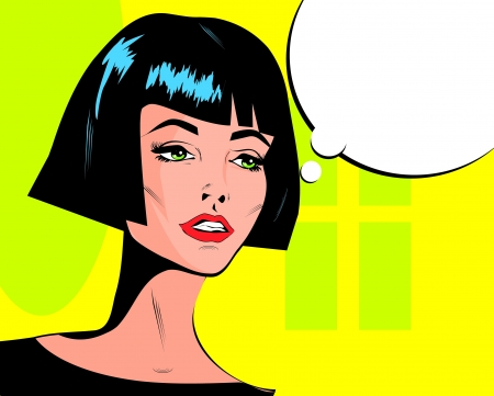 mod: Pop art vector illustration of a woman