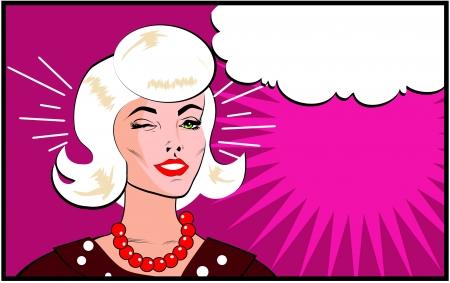 retro model: Retro Woman Winking banner - Retro Clip Art comics style