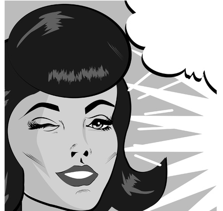 kitsch: Retro Woman Winking banner - Retro Clip Art comics style