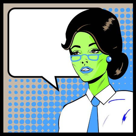 Pop Art Business Woman with Speech Bubble. Retro business smiley girl  Vector
