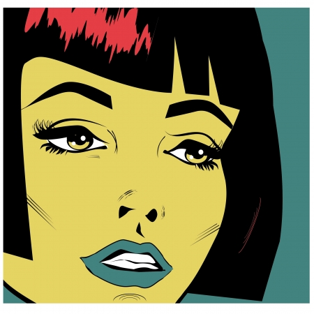 Vintage woman face pop art retro poster Illustration