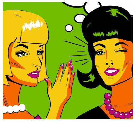 Gossiping Women - Retro Clip Art  Vector