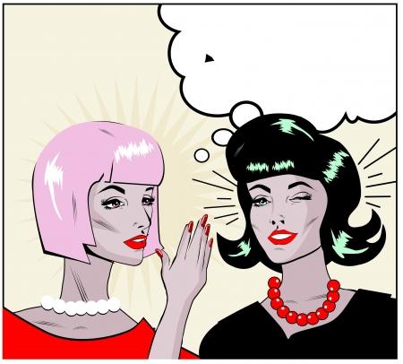 whispering: informer Clipart Illustration of Two Gossiping Retro Women banner