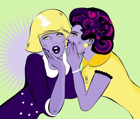 fofoca: fofocando mulheres c�mico Amor ilustra��o vetorial