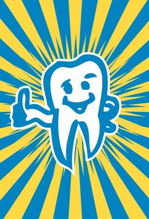 happy dent poster card Intact, healthy molar tooth  Vector