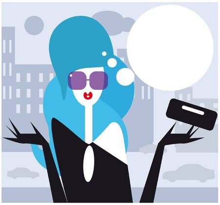 Moderm woman talking  female fashion illustration Girl in the city Vector
