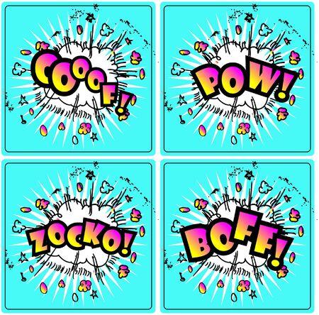 Comic Superhero bashing - comic bubbles of super hero fights  Stock Vector - 15771038
