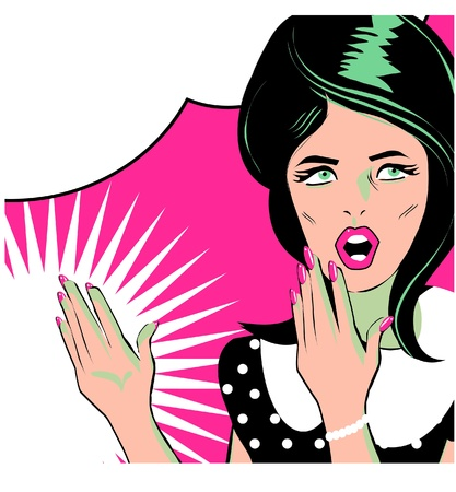 Pop art comic 1 Love Vector illustration of surprised woman face Stock Vector - 15770835