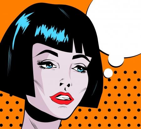 dark hair: Mujer Arte Pop Di rostro Moda Belleza con labios rojos y pelo oscuro cortado