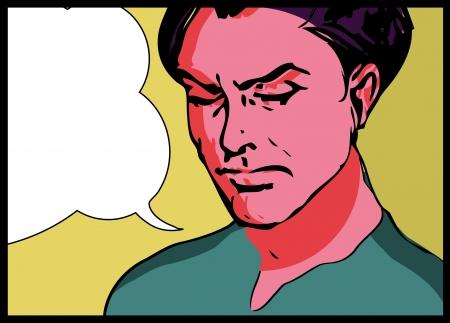 �nerv�e: Vector illustration d'un homme dans une fen�tre pop art  style bande dessin�e.