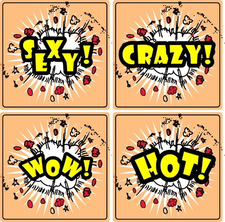 sexy wow hot crazy! Four grouped Comic book cloud bursts and explosions! Stock Vector - 15771028