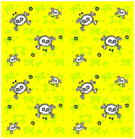 subculture: skulls seamless pattern. Lots of sculls with comic texture, graphic stylized  silhouettes, vector background