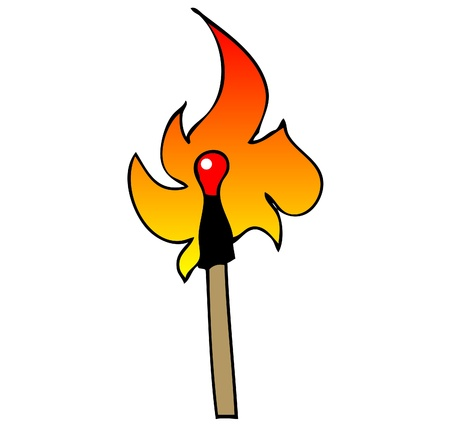 One match in fire on white flash  background pop art comics style Vector