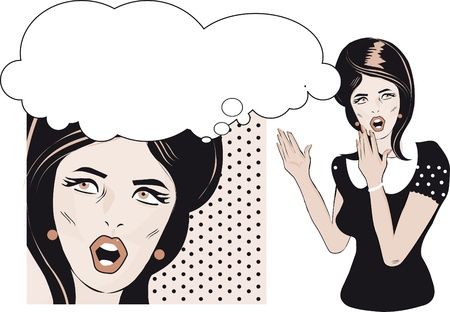 Comic Love Vector background of surprised woman face Stock Vector - 15770966