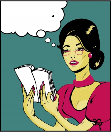 Teacher or business woman Illustration of a woman reading in a pop art/comic style Stock Vector - 15770334