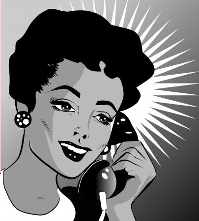 Pop Art illustration of a woman with hand holding a phone  Vector