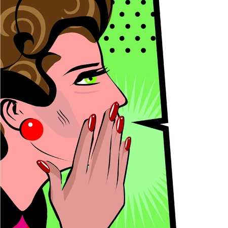 whispering: Comics hand gesture of woman telling secrets, spread the word illustration