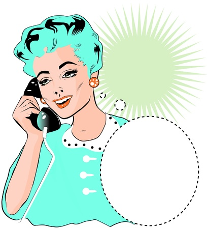 woman speaking: Lady Chatting On The Phone - Pop Art Illustration