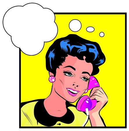girl at phone: Comics style girl woman talking  by phone