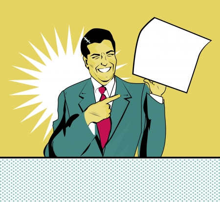happy advertising man with sheet of paper in a hand in pop art comic style Vectores