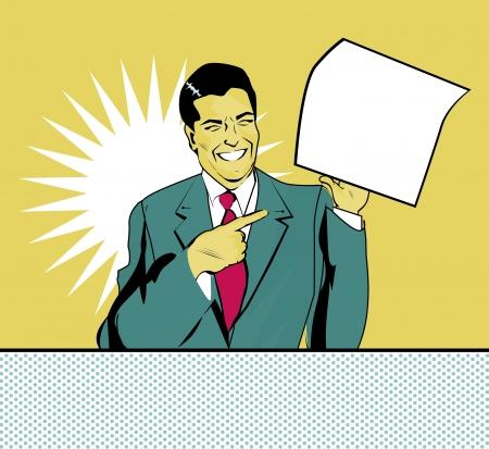 dibujo vintage: publicidad hombre feliz con la hoja de papel en una mano en un estilo pop art comic Vectores