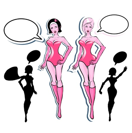 Super woman Lover vector poster with woman and talk bubble, silhouette. One of fashion pinup illustrations  Vector