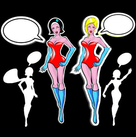 spacesuit: Super woman Lover vector poster with woman and talk bubble, silhouette. One of fashion pinup illustrations