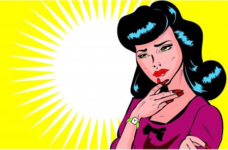 mujeres pensando: Tal vez, tal vez no - Lady tratando de hacer una colecci�n popart Decisi�n