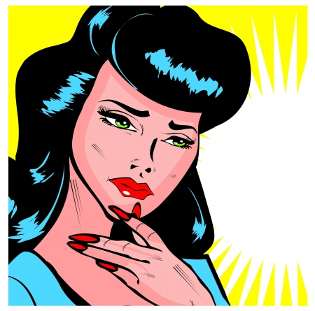 Maybe, Maybe Not - Lady Trying To Make A Decision popart collection Vector