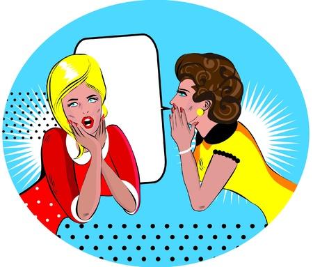 blab: pettegolezzi delle donne fumetto illustrazione vettoriale Amore
