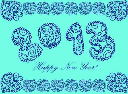 happy new year in flower 2013 on a white background Stock Vector - 15771014