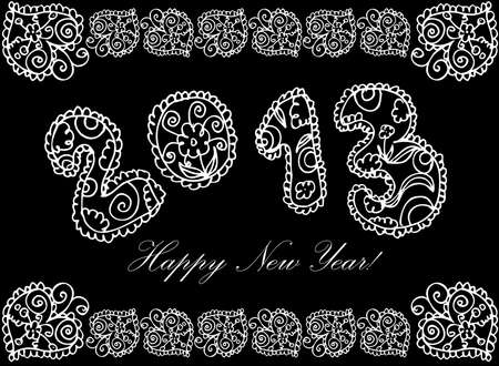 happy new year in flower 2013 on a white background  Vector