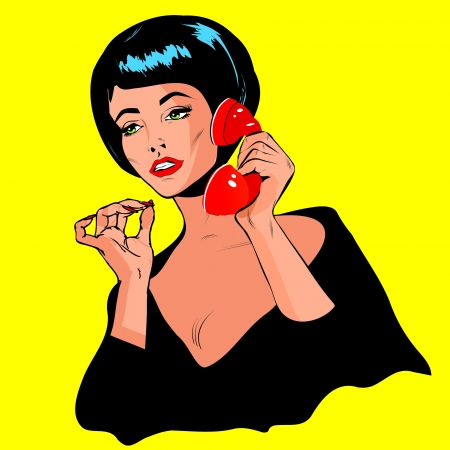 retro lady: Lady Chatting On The Phone - Retro Clip Art vintage collection Illustration