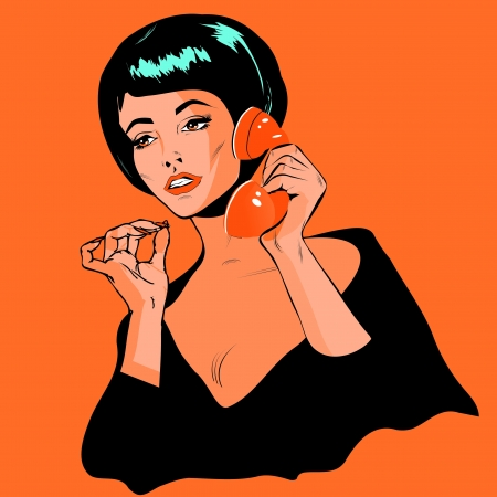 Lady Chatting On The Phone - Retro Clip Art vintage collection Illustration