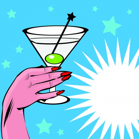 Vintage background Coctail with hand - pop art comic style Vector